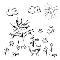 Cute child's hand drawn meadow with flowers and cat on white
