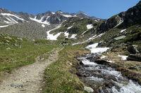 Wanderweg mit Gebirgsbach, Richtung Lenkjöchlhütte, Ahrntal, Südtirol