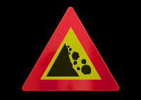 Traffic sign isolated - Falling rocks