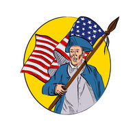 American Patriot Holding American Flag Drawing