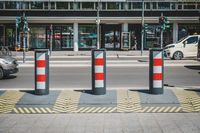 Anti terror barricade, truck stop protection on sidewalk by at Breitscheidplatz in Berlin