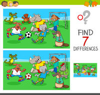 find differences game with animals playing soccer