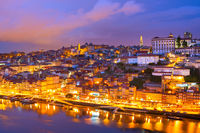 Porto twilight skyline Douro Portugal
