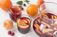 Refreshing red wine sangria summer drink