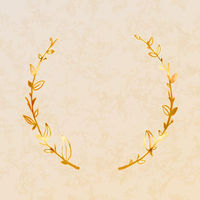 Cute golden detailed floral wreath on beige paper