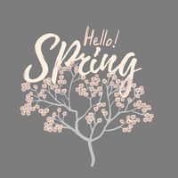Hello spring card with Cherry Blossom Spring Flower tree