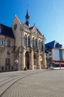 The Fischmarkt and Town Hall of Erfurt town, Thuringia, Germany