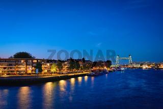 Rotterdam cityscape with De Hef bridge and Noordereiland at nigh