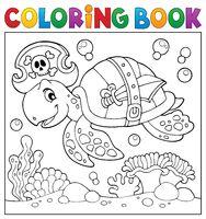 Coloring book pirate turtle theme 2