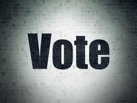Politics concept: Vote on Digital Data Paper background