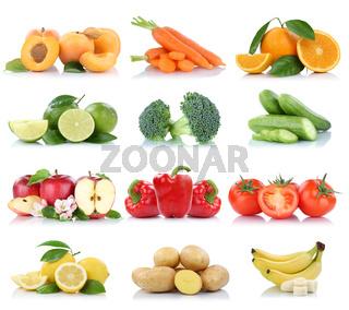 Früchte Obst und Gemüse Sammlung Apfel Tomaten Orange Bananen Farben frische Freisteller freigestellt isoliert