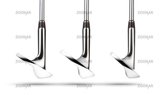 Toes of Golf Club Wedge Irons Showing Various Loft Angles of Faces on White Background