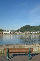 Blick ueber den Rhein auf Bad Breisig,Rheinland-Pfalz,Deutschland