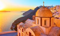 Thira town and Aegean sea at sundown