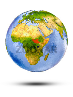 South Sudan on globe