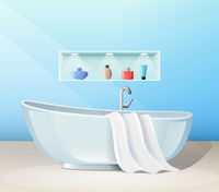Modern bathroom interior with bath and accessories, banner, vector illustration.