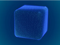 Cyber space concept: 3d digital cube consisting of glowing particles.