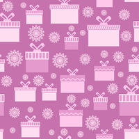 Pink Wrapping Christmas Seamless Paper with Boxes and Snowflakes for Gift.