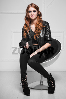 Cute red-haired woman