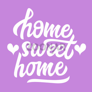 Home sweet home black lettering isolated with hearts