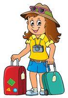 Tourist woman theme image 1