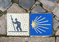 Camino de Santiago sign in Chartres, France