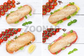 Baguette Vollkorn Brötchen Collage Schinken Salami Käse Fisch von oben auf Holzbrett