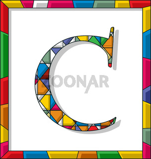 Letter C in stained glass
