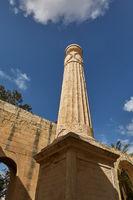 View of a pillar from lower viewpoint at upper Barrakka gardens in Valletta in Malta
