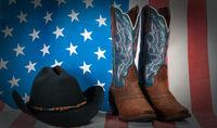 american flag cowboy western vintage
