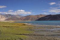 Pangong Lake, Jammu and Kashmir, India. Pangong Tso or high grassland lake extends from India to China.