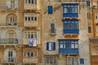 Typical and traditional colorful architecture and houses in Valletta in Malta