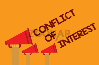 Word writing text Conflict Of Interest. Business concept for disagreeing with someone about goals or targets Three lines text messages ideas multiple alarm speaker symbol announcement.