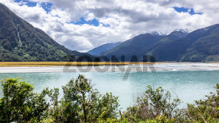 riverbed landscape scenery in south New Zealand