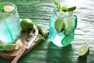 Lemonade from lime and mint