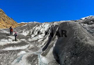Gletscherspalten auf dem Gornergletscher, Zermatt, Wallis, Schweiz