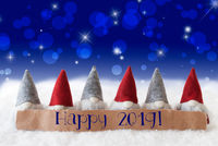 Gnomes, Blue Background, Bokeh, Stars, Text Happy 2019