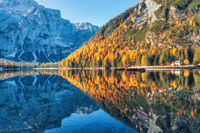 Braies lake at sunrise in autumn in Dolomites, Italy