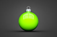 green Christmas ball isolated with text space