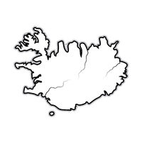 World Map of ICELAND: Iceland, Scandinavia, North Europe, Atlantic Ocean. Geographic chart.