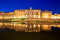 Arno river waterfront evening reflections in Florence