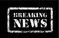 Stamp breaking news in grunge style, vector illustration on black