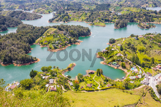 aerial view of the artificial Penol lake with boat