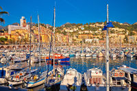 Colorful Cote d Azur town of Menton harbor and architecture view