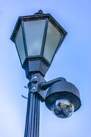 Security camera on a lamp post