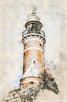 Digital artistic Sketch of a Lighthouse in Holtenau in Germany