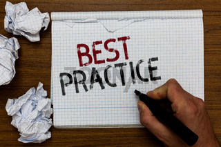 Handwriting text Best Practice. Concept meaning Method Systematic Touchstone Guidelines Framework Ethic Man holding marker notebook crumpled papers ripped pages mistakes made.