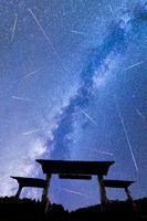 Blue Milky way falling stars entrance door fence