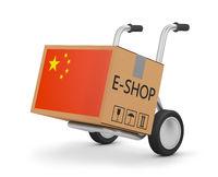 box Chinese flag on cart