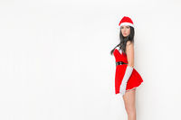 beautiful and cute girl dresses as a sexy santa claus